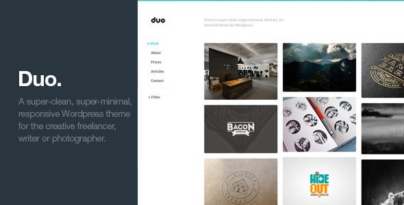 Duo - Unique Minimal Responsive Wordpress Theme - Portfolio Creative