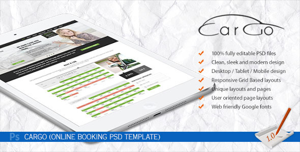 CarGo - Online Booking PSD Template - Travel Retail