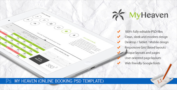 My Heaven - Online Booking PSD Template - Travel Retail