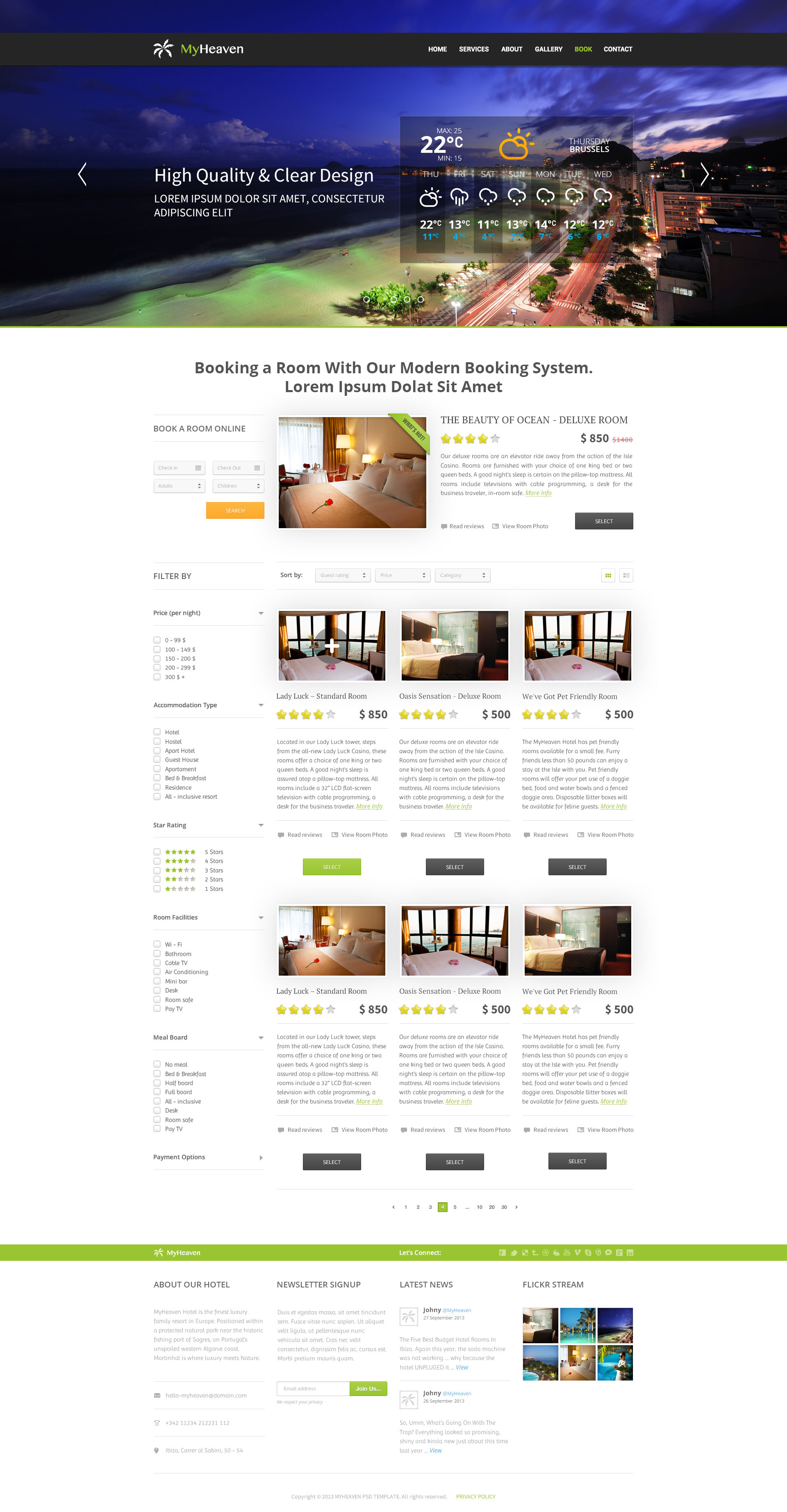 My Heaven - Online Booking PSD Template - Desktop - Search Results Page