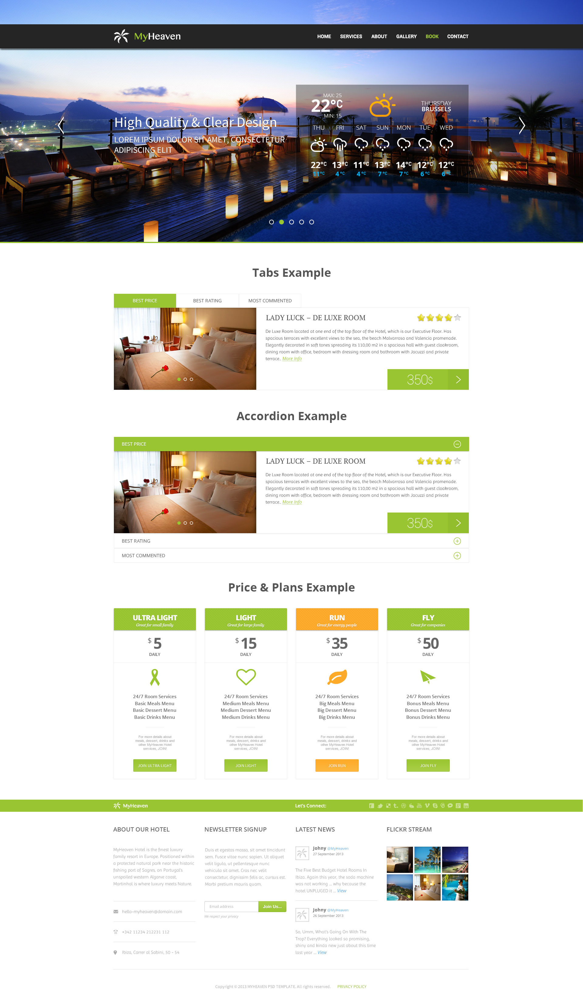 My Heaven - Online Booking PSD Template - Desktop - Interactive Elements Page