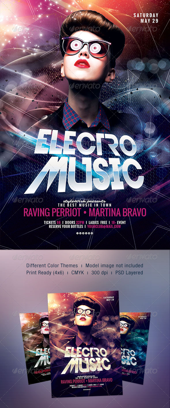 Electro Music Flyer - Clubs & Parties Events