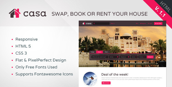 Casa - Swap, Book & Rent HTML Template  - Travel Retail