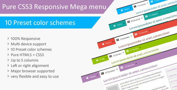 CodeCanyon Pure CSS3 Responsive Mega menu 6914200