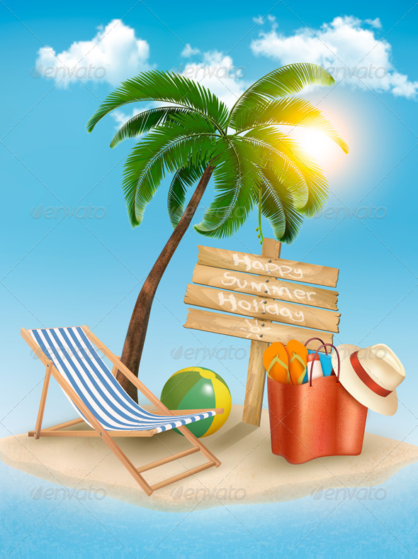 GraphicRiver Travel Background with Tropical Island 6914666