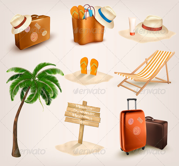 GraphicRiver Set of Vacation Related Icons 6914732