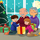 Kids Opening Christmas Present from Grandparents - GraphicRiver Item for Sale