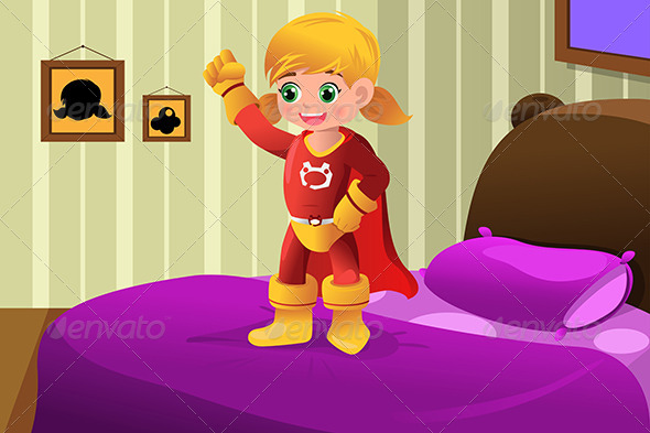 GraphicRiver Girl in Superhero Costume 6915800