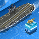 Isometric Aircraft Carrier in Navigation in Front - GraphicRiver Item for Sale