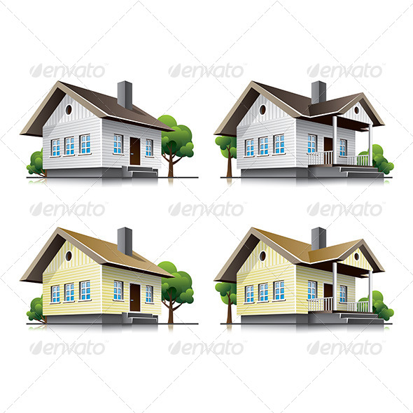 GraphicRiver Family Houses Cartoon Icons 6916905