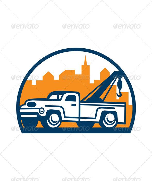 GraphicRiver Vintage Tow Truck Wrecker Retro 6917224