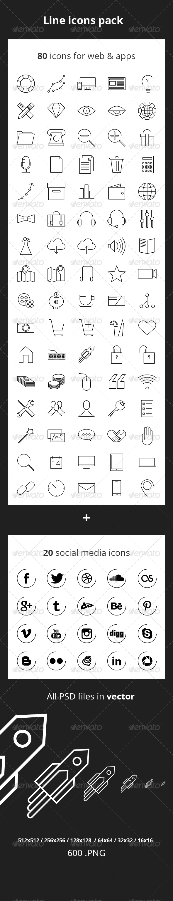 GraphicRiver 80 Line Icons 6876515