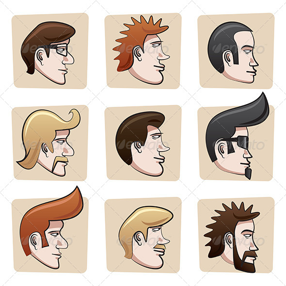 GraphicRiver Cartoon Men Heads 6917462
