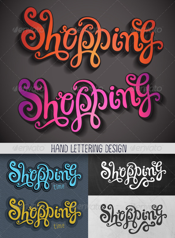 GraphicRiver Shopping Hand Lettering Set 6917501