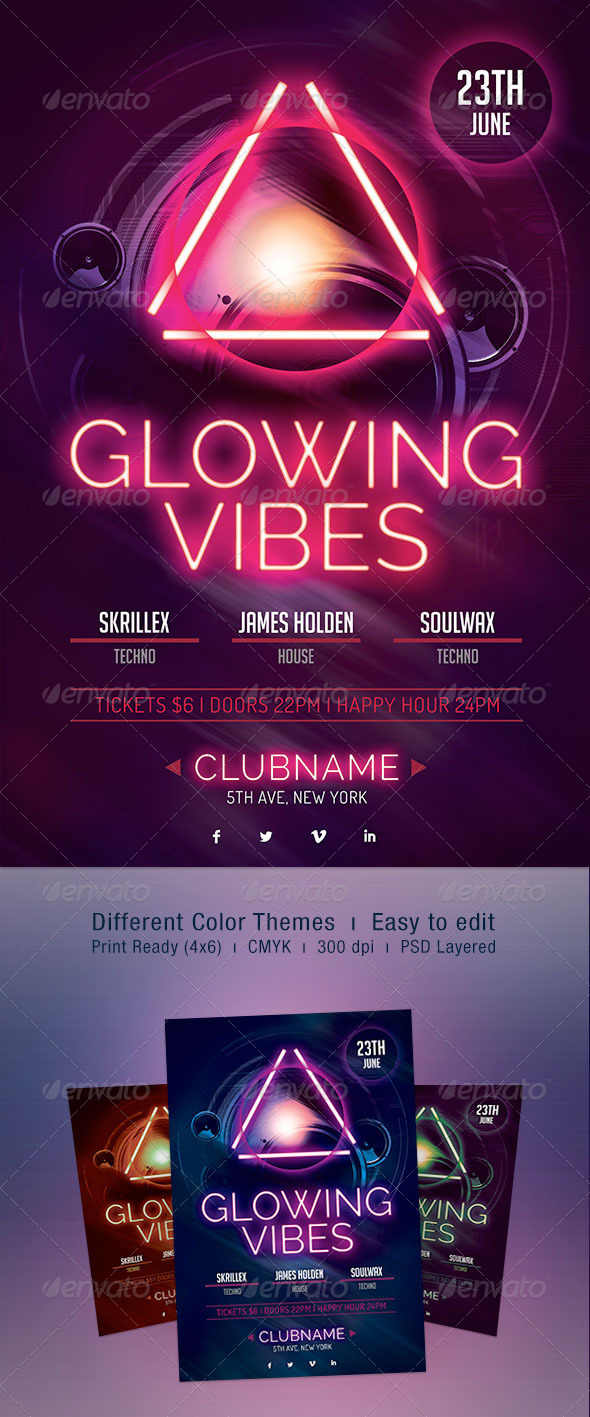 Glowing Vibes Flyer - Clubs & Parties Events