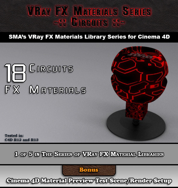 3DOcean 18 VRay FX Circuits Material Pack for Cinema 4D 6918247