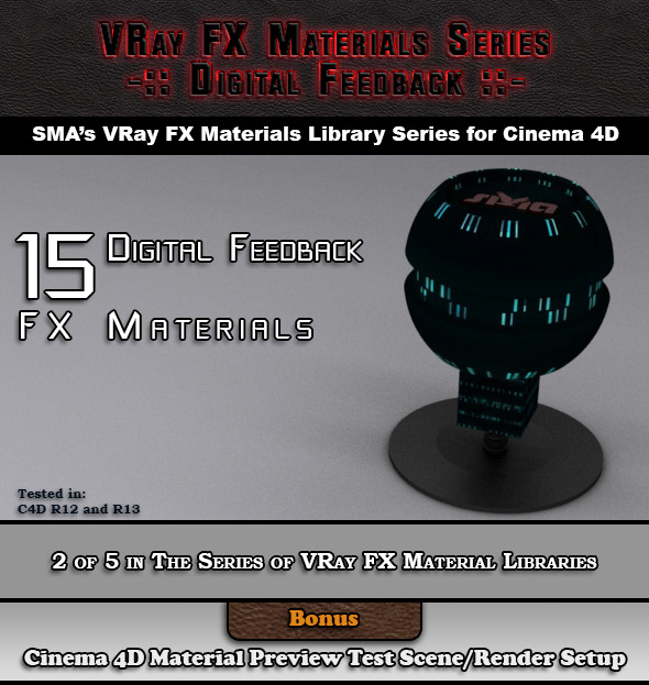3DOcean 15 VRay FX Digital Feedback Materials Pack C4D 6918545