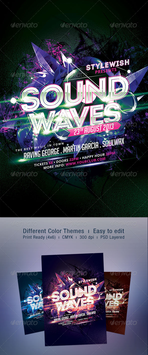 Sound Waves Flyer - Clubs & Parties Events