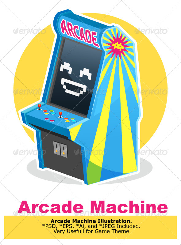 GraphicRiver Blue Vintage Arcade Machine Game 6920396