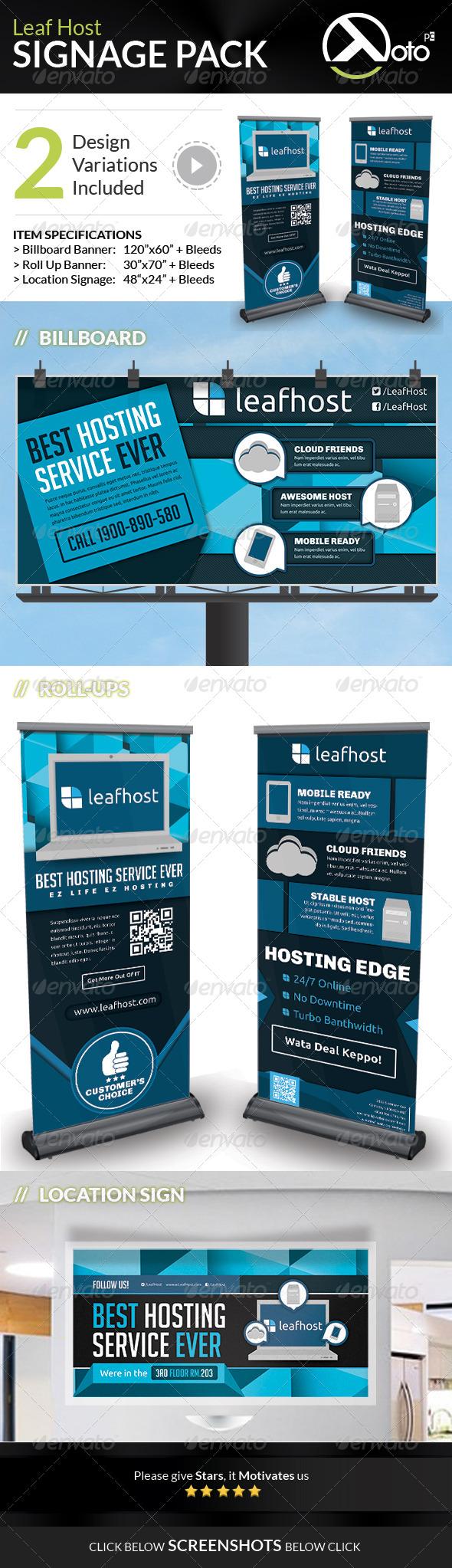 GraphicRiver Leaf Host Web Hosting Signage Pack 6920571