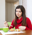 woman eats chicken with vegetables - PhotoDune Item for Sale