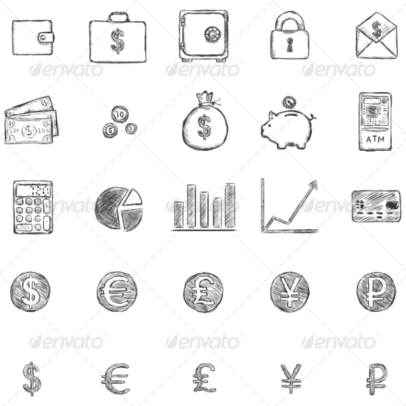 GraphicRiver Set of Sketch Finance Icons 6923425