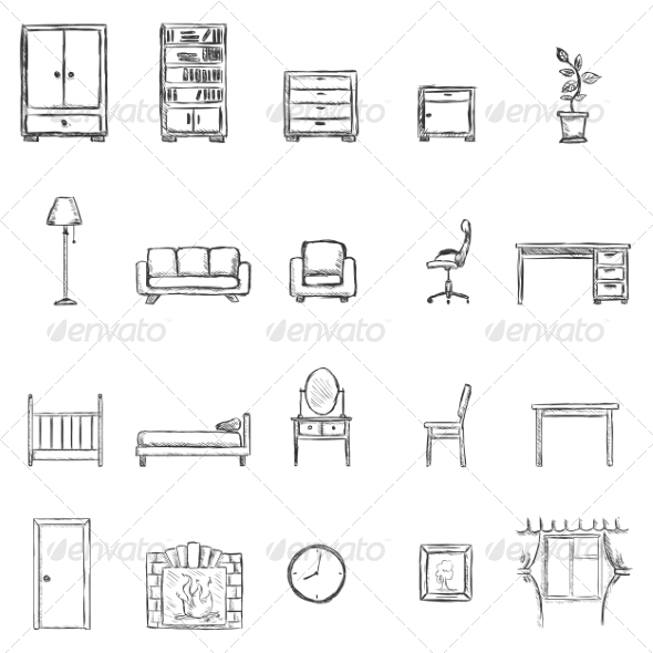 GraphicRiver Set of Sketch Furniture Icons 6923522