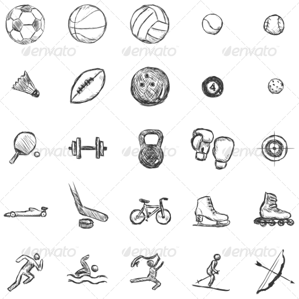 GraphicRiver Vector Set of Sketch Sports Icons 6923587
