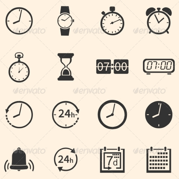 GraphicRiver Vector Set of 16 Time Icons 6923840