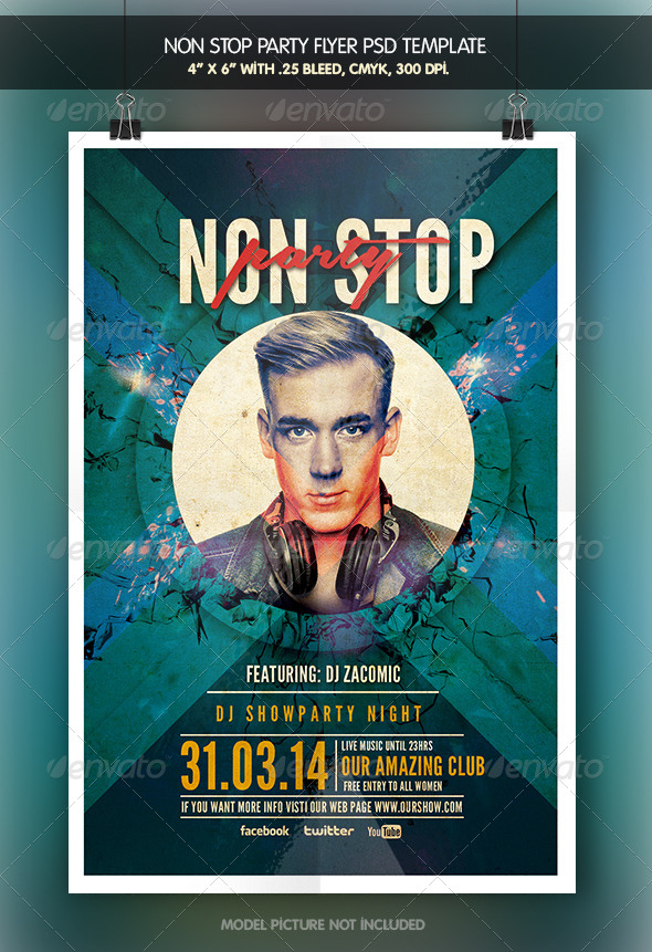 GraphicRiver Non Stop Party Flyer Template 6923855