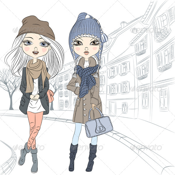 GraphicRiver Fashion Girls in Old Town 6925104