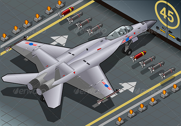GraphicRiver Isometric Fighter Bomber Landed in Rear View 6925546
