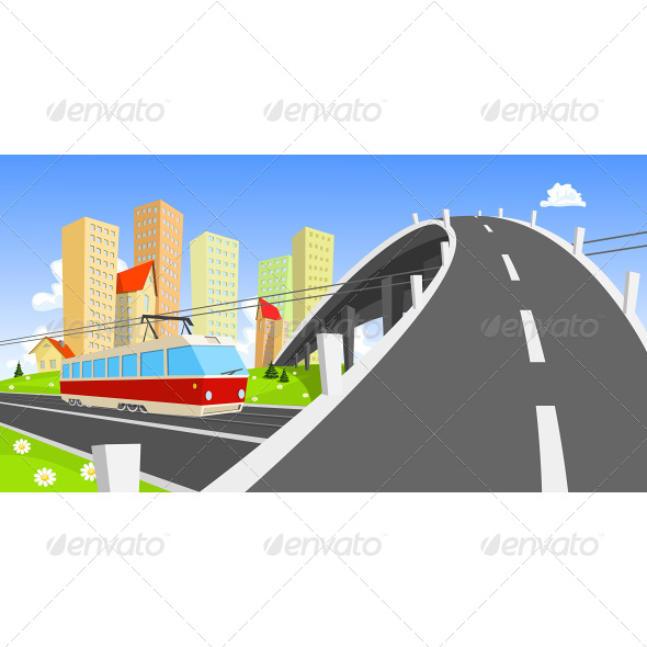 GraphicRiver Streetcar Coming Under the Bridge 6927079