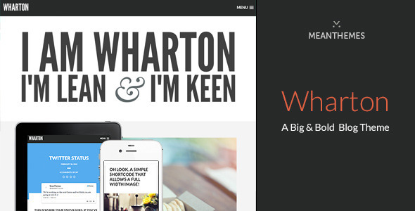 ThemeForest Wharton A Big & Bold WordPress Blog Theme 6928979