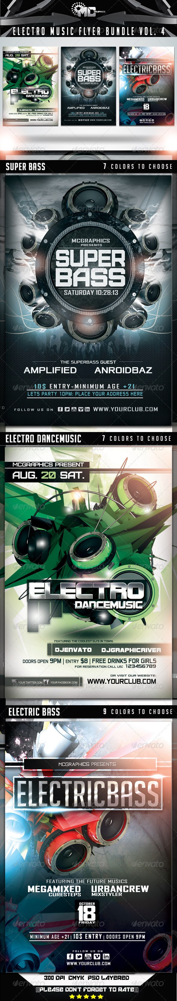 GraphicRiver Electro Music Flyer Bundle Vol 4 6932046