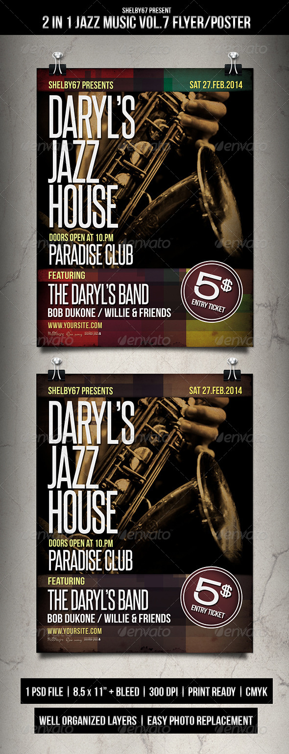 GraphicRiver 2 in 1 Jazz Music Flyer Poster Vol.7 6932748