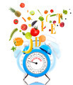 Diet concept with clock, scale dial, fruits and vegetables. - PhotoDune Item for Sale