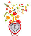 Clock in shape of heart with fruits and vegetables. - PhotoDune Item for Sale