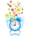 Diet concept with clock, scale dial and fruits - PhotoDune Item for Sale