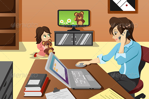 GraphicRiver Mother Working in the Office 6934743