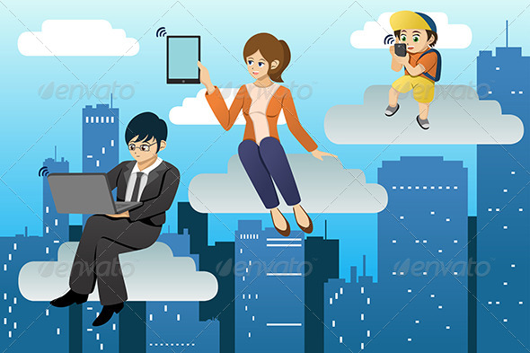 GraphicRiver People Using Different Mobile Device in Clouds 6934893
