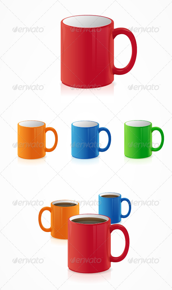 GraphicRiver Vector Coffee Cups Set on White 6938038