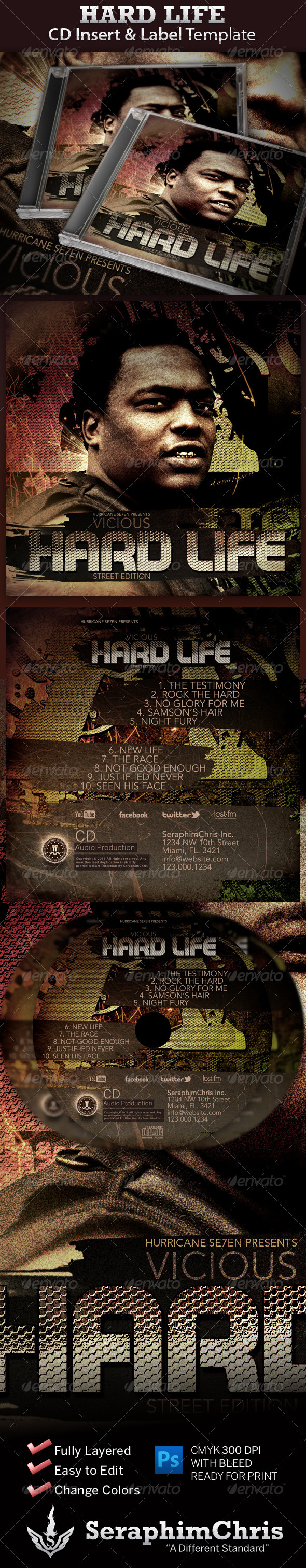 Graphic River Hard Life CD Insert and Label Print Templates -  CD & DVD artwork 726925