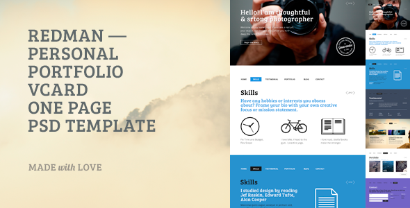 ThemeForest Redman one page psd template 6913231