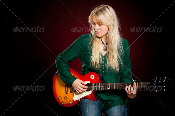 girl with a guitar - Stock Photo - Images