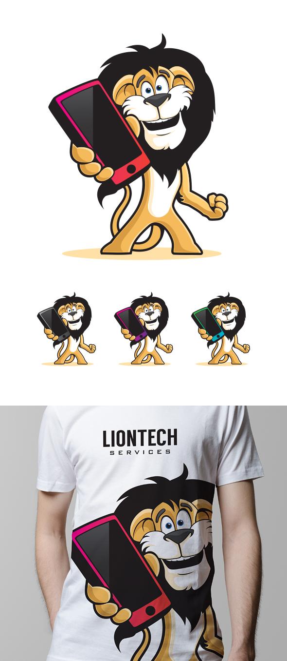 GraphicRiver Phone Lion Mascot 6940816