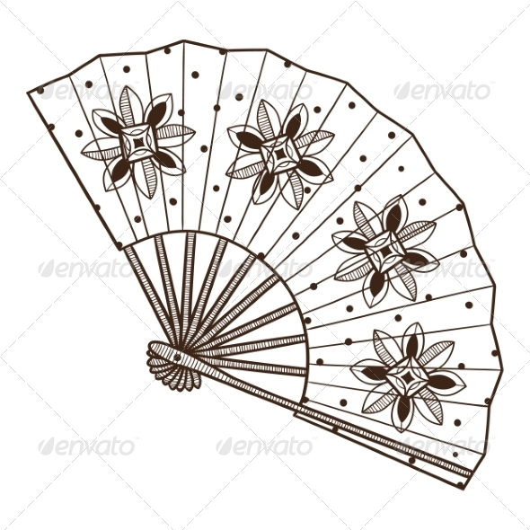 GraphicRiver Lady s Fan with Pattern 6941820