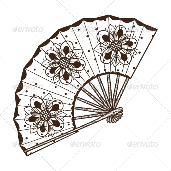 GraphicRiver Lady s Fan with Pattern 6941826