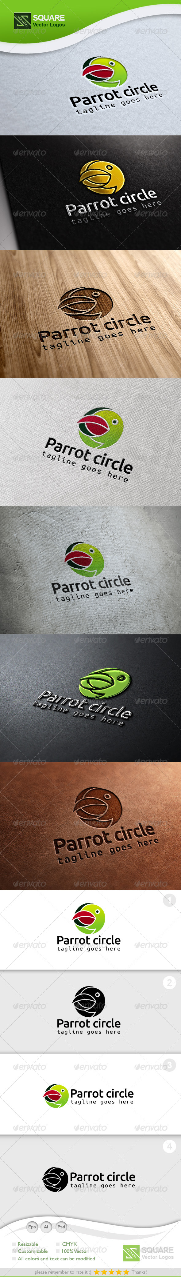 GraphicRiver Parrot Circle Vector Logo Template 6941918