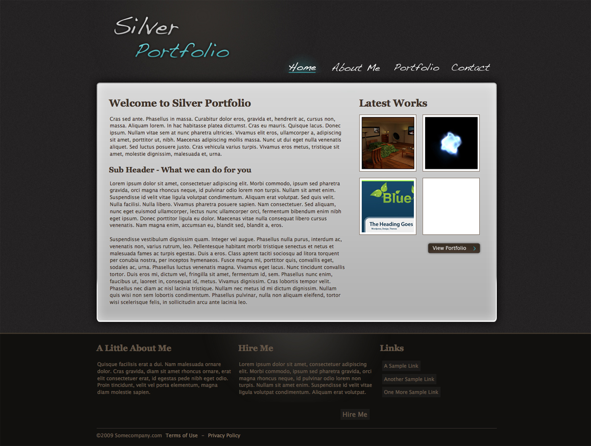 Silver Portfolio - A clean homepage feature navigation, fixed width / height and footer. Shows previews of images from the portfolio page.